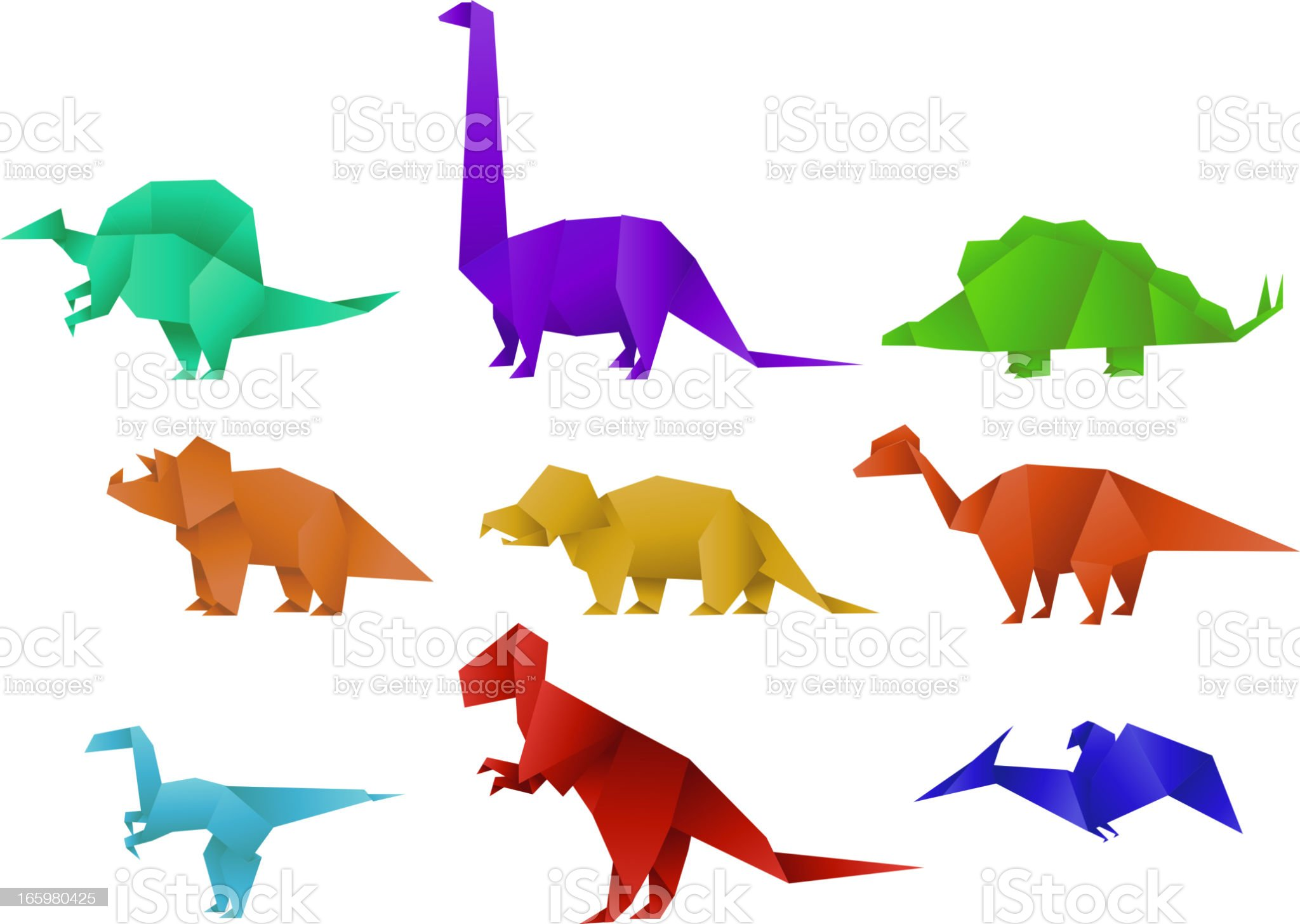 Set of Nine Color Paper Origami Dinosaur Collection vector illustration royalty-free stock vector art