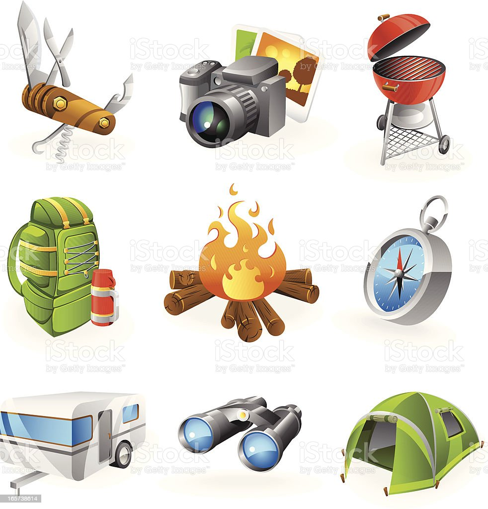 A set of nine colorful camping icons  royalty-free stock vector art