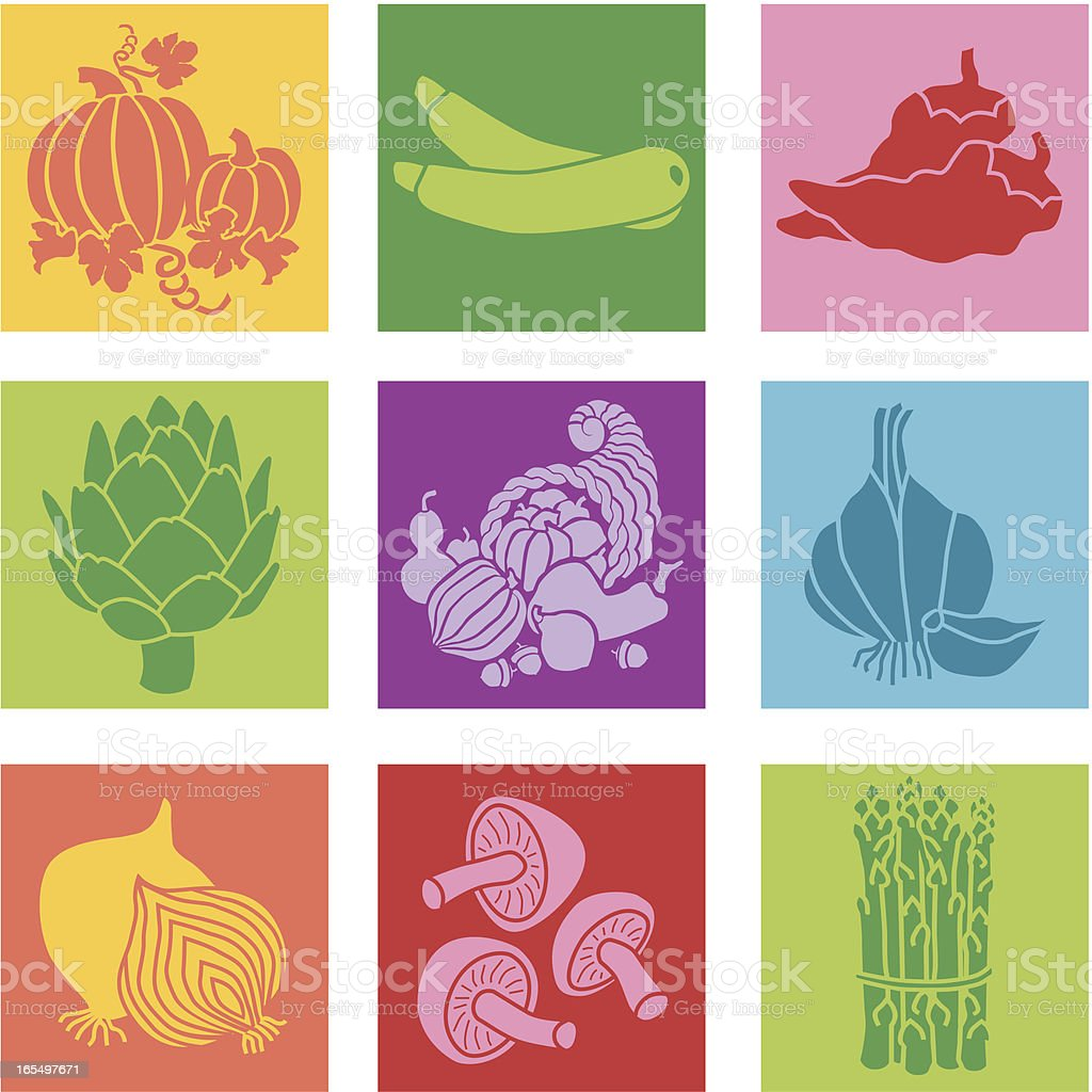 Set of nine colorful squares with vegetable icons royalty-free stock vector art