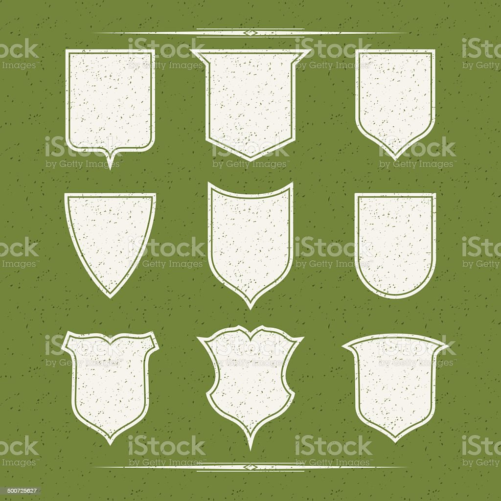 Set of nine different forms of shields vector art illustration