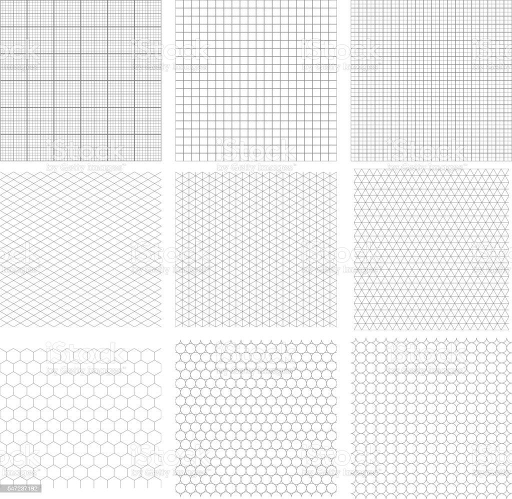 Set of nine gray geometric grids vector art illustration