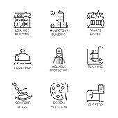 Set of nine icon city and service concept. Urban symbols