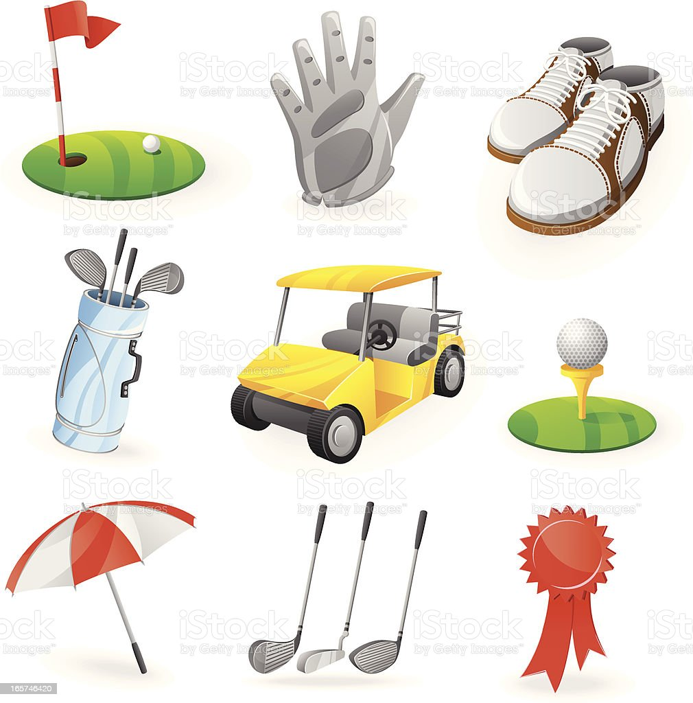 A set of nine icons that represent golf  royalty-free stock vector art