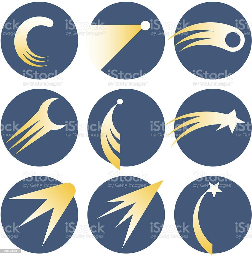 Set of nine illustrations of shooting stars inside circles vector art illustration