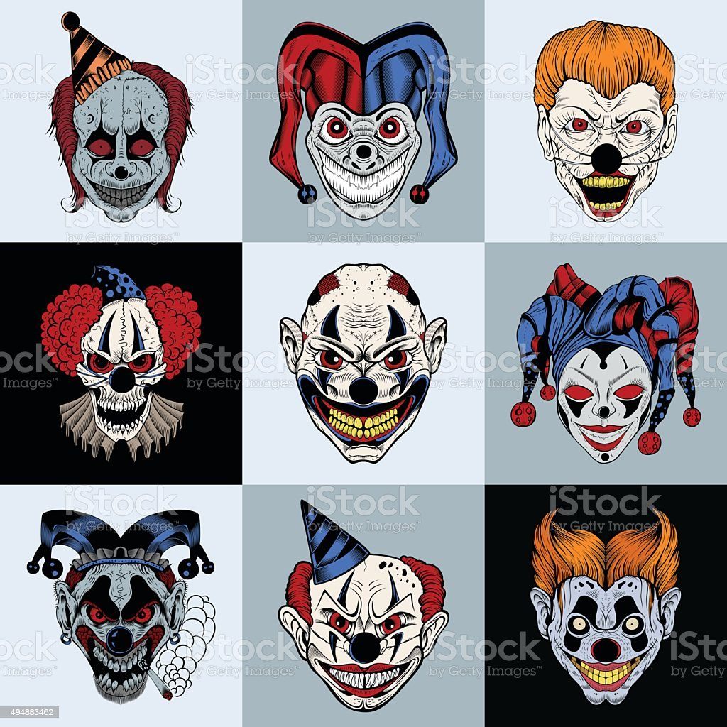 Set of nine images with painted fantastic scary clown vector art illustration