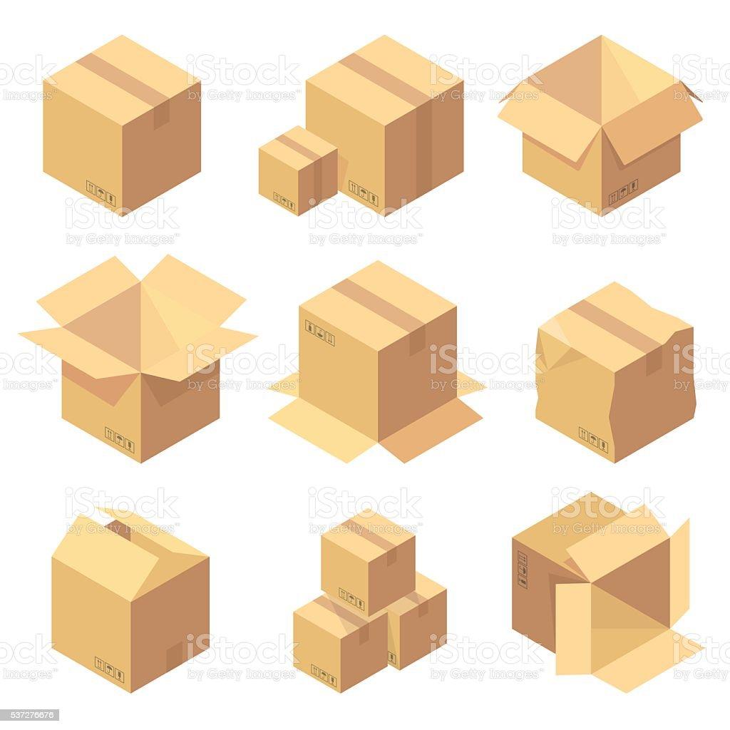Set of nine isometric cardboard boxes isolated on white vector art illustration