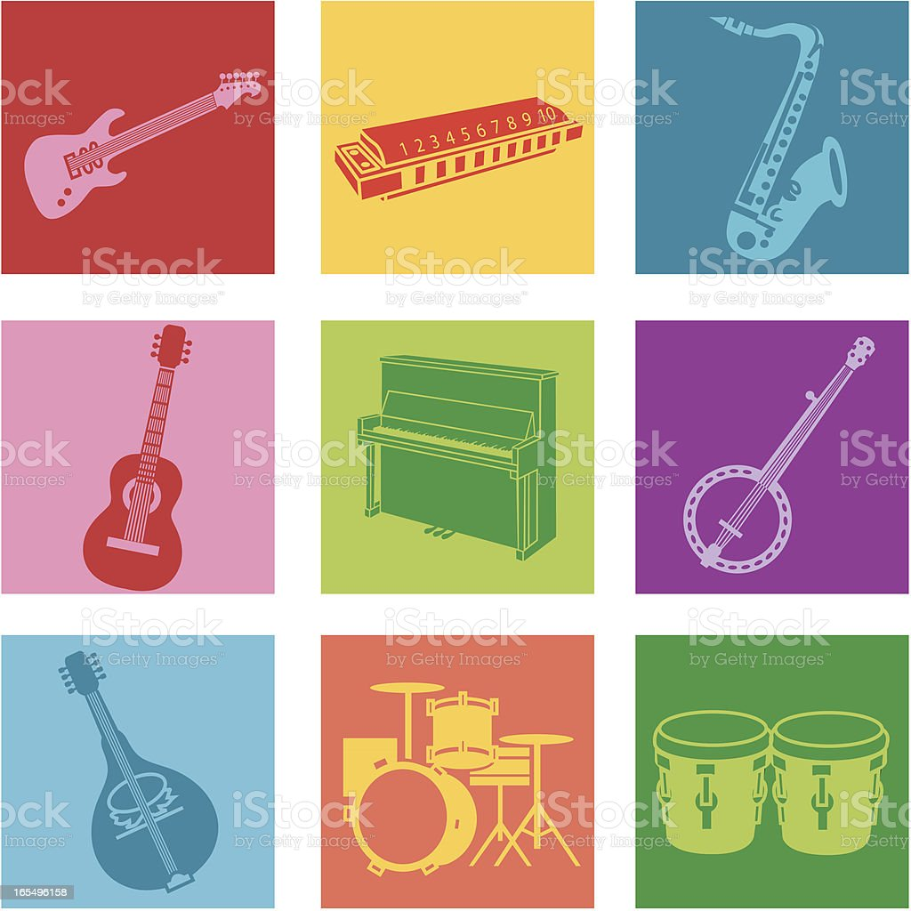 A set of nine multicolored popular music icons vector art illustration