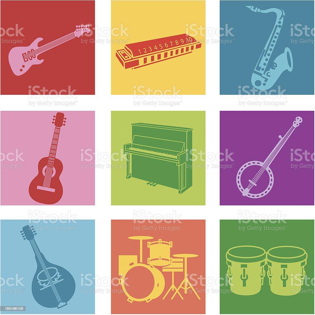 A set of nine multicolored popular music icons vector art illustration