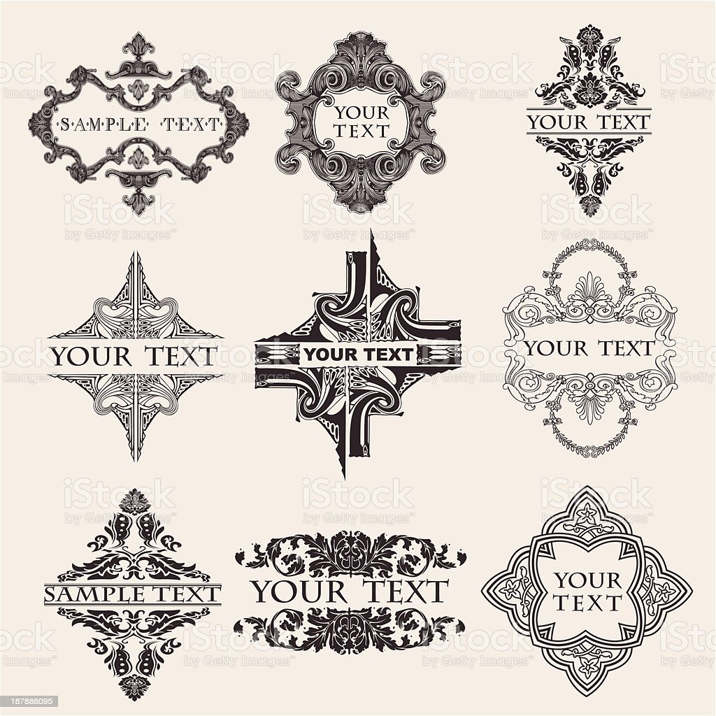 Set Of Nine Ornate Banner Text Quad royalty-free stock vector art