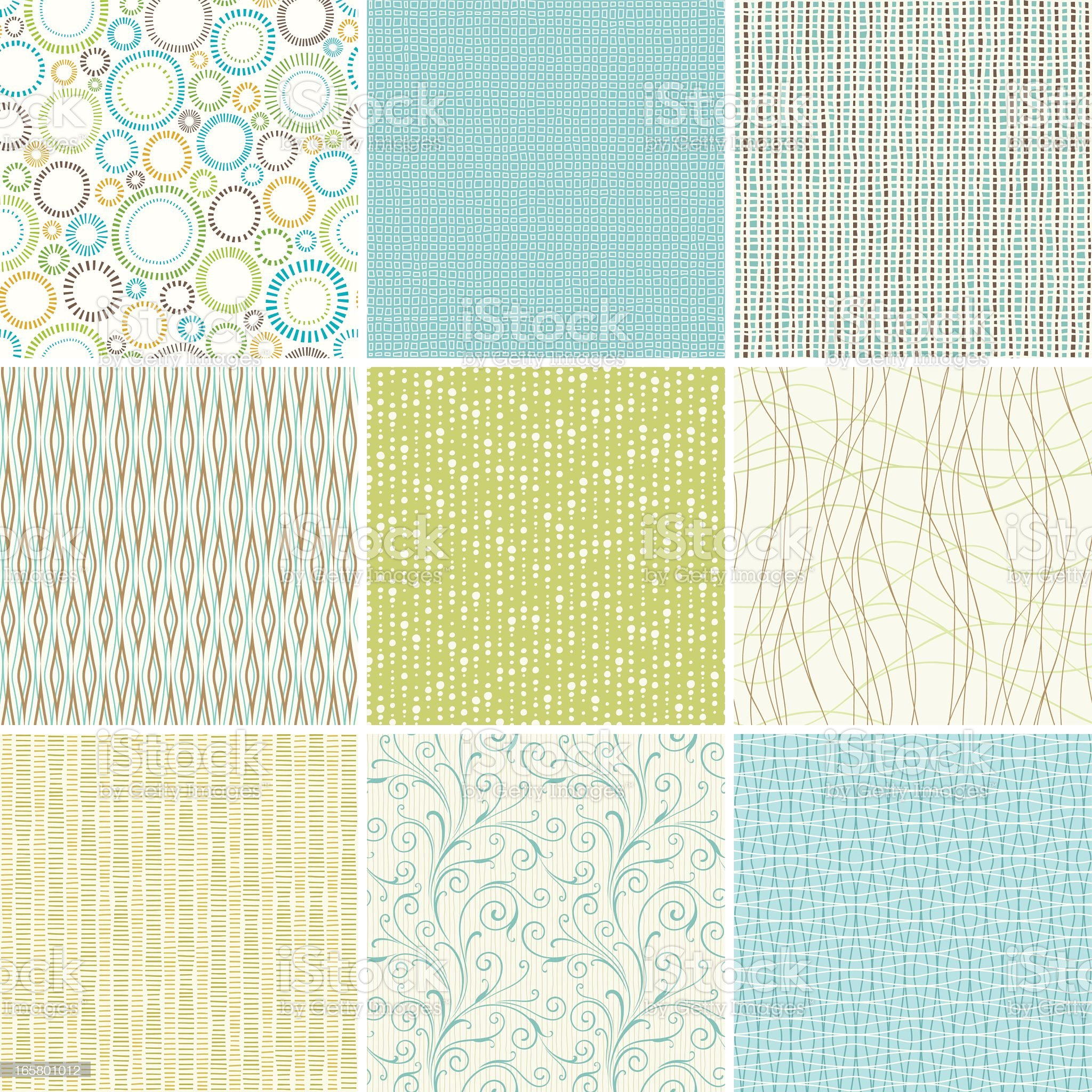 A set of nine pastel wallpaper patterns royalty-free stock vector art