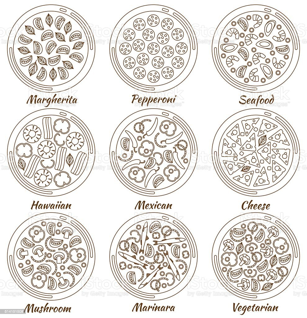 Set of nine round hot delicious pizza in line style vector art illustration