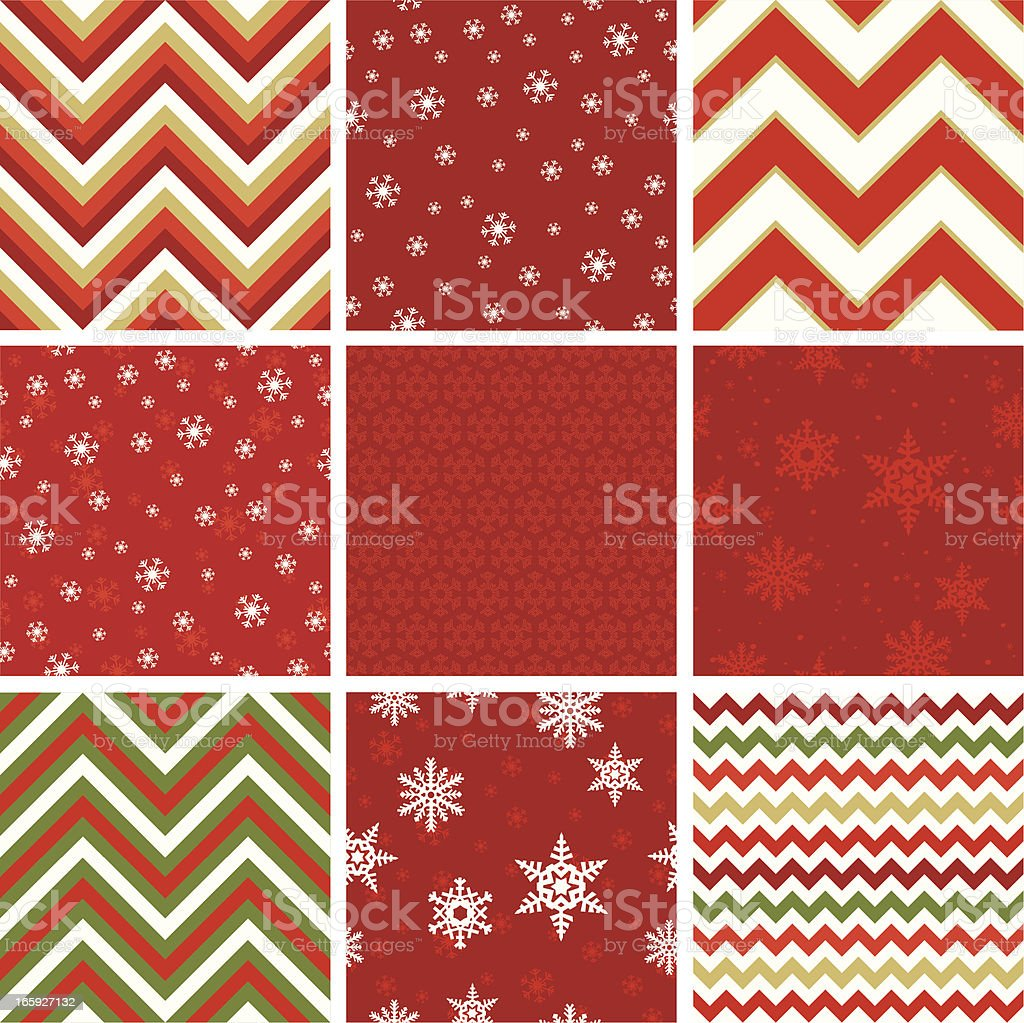 Set of nine seamless Christmas-style patterns vector art illustration