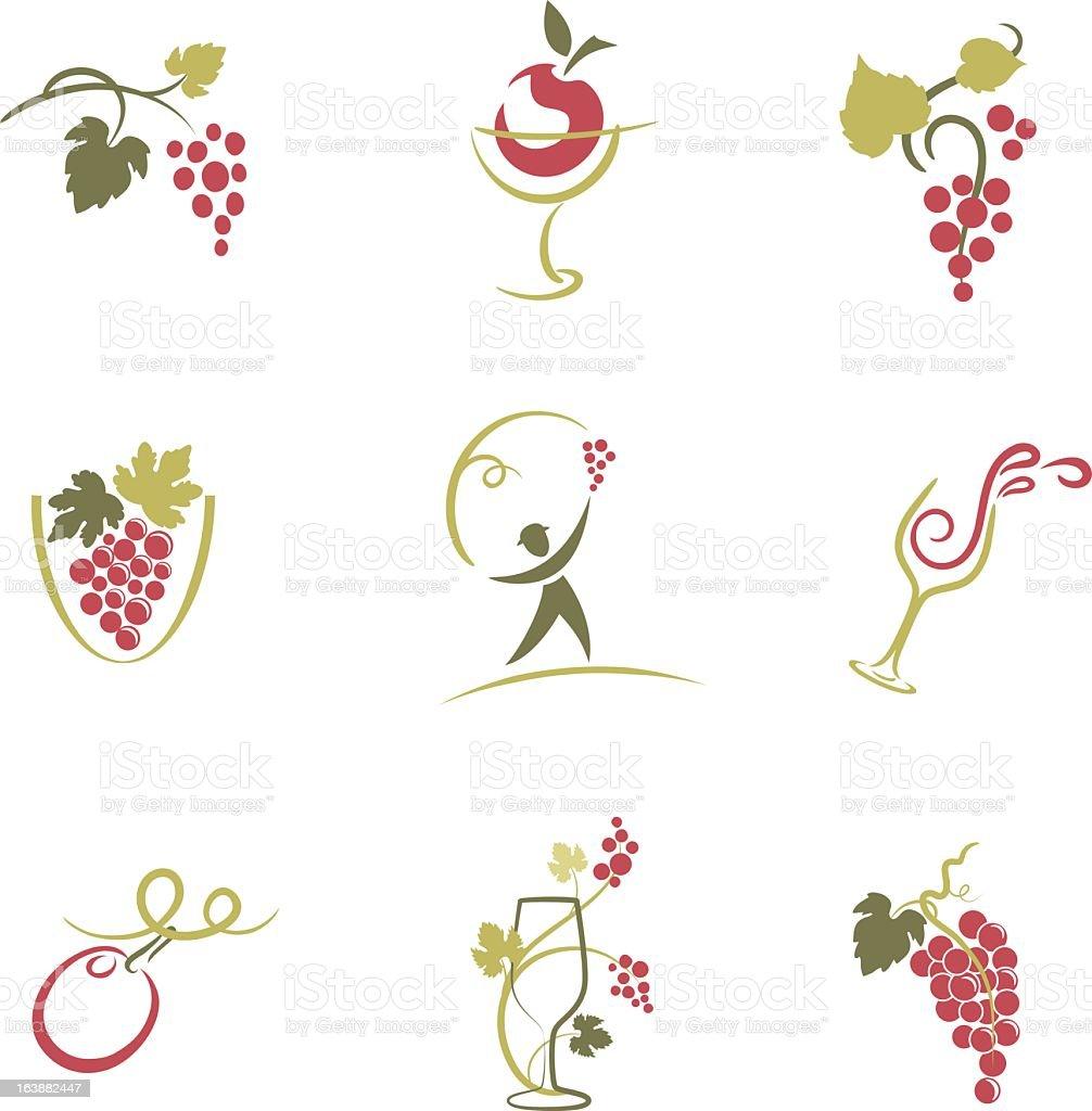 Set of Nine Sketchy Grapevine and Wine Elements Icons Illustration vector art illustration