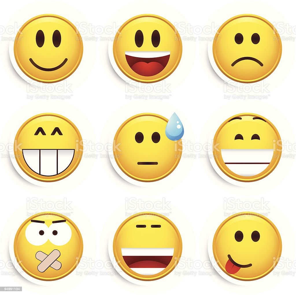 Set of nine smileys vector art illustration