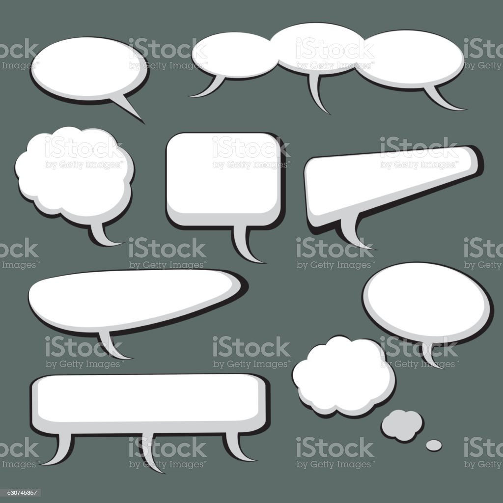 Set of Nine Speech And Thought Bubbles vector art illustration