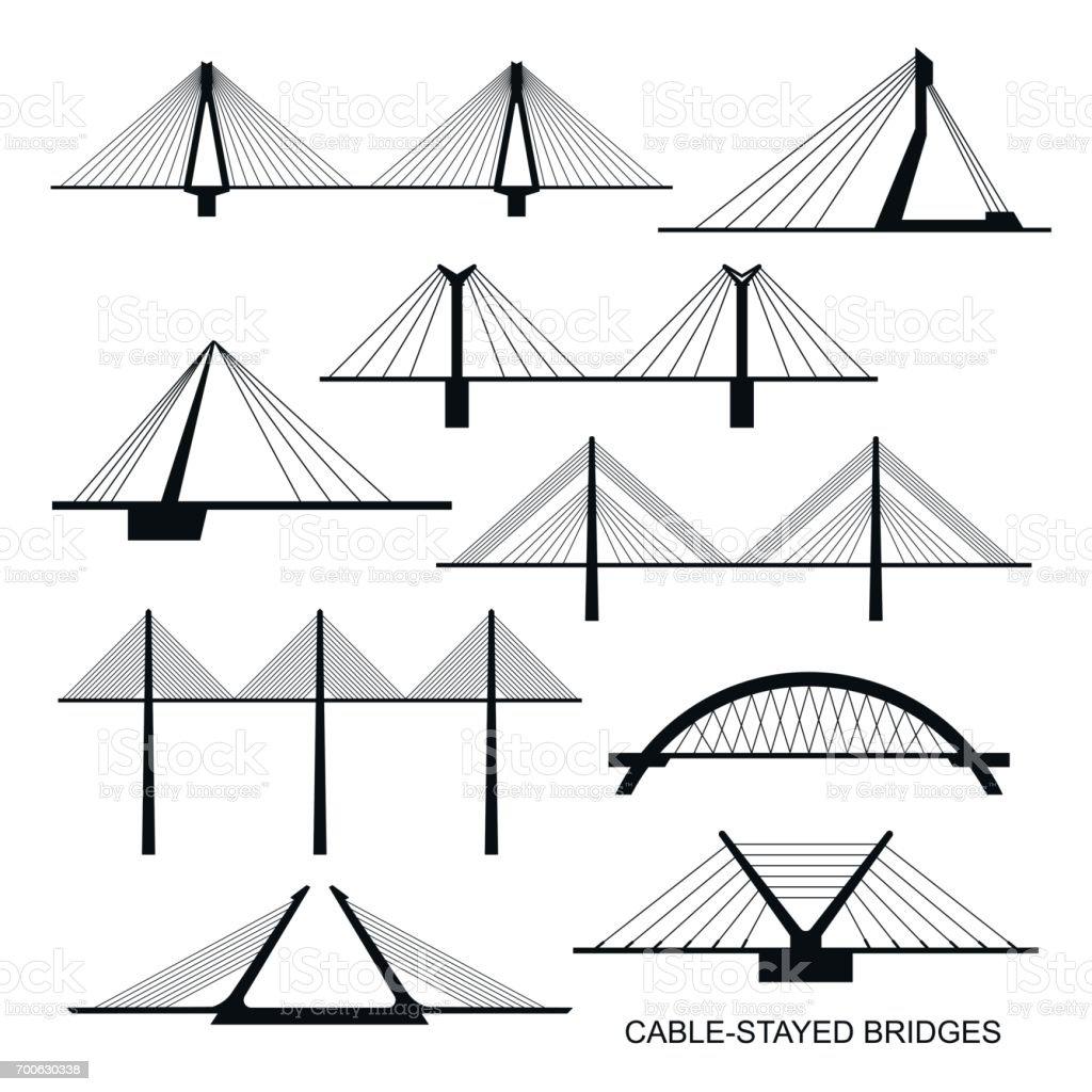 Set of nine stylized bridges. vector art illustration