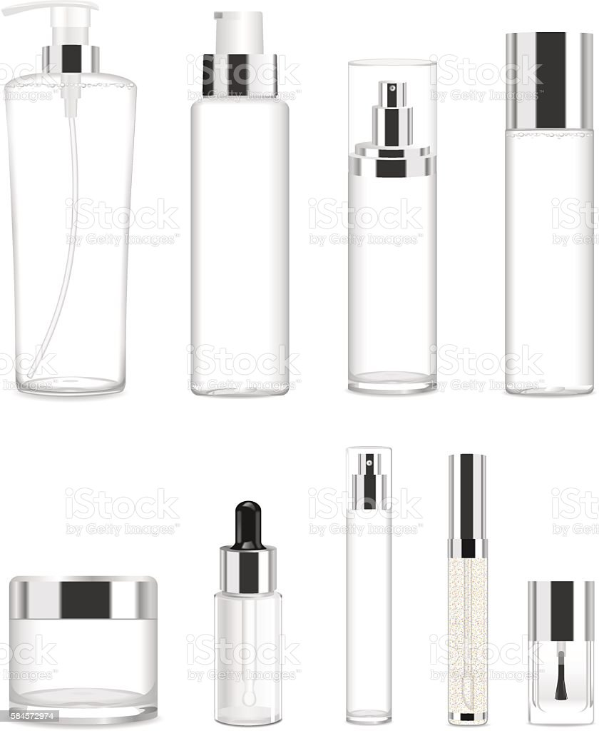 Set of nine transparent cosmetic tubes. Vector vector art illustration