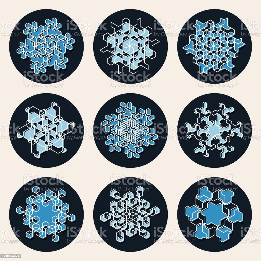 Set of Nine Vector Line Art Stroke Offset Geometric Blue vector art illustration