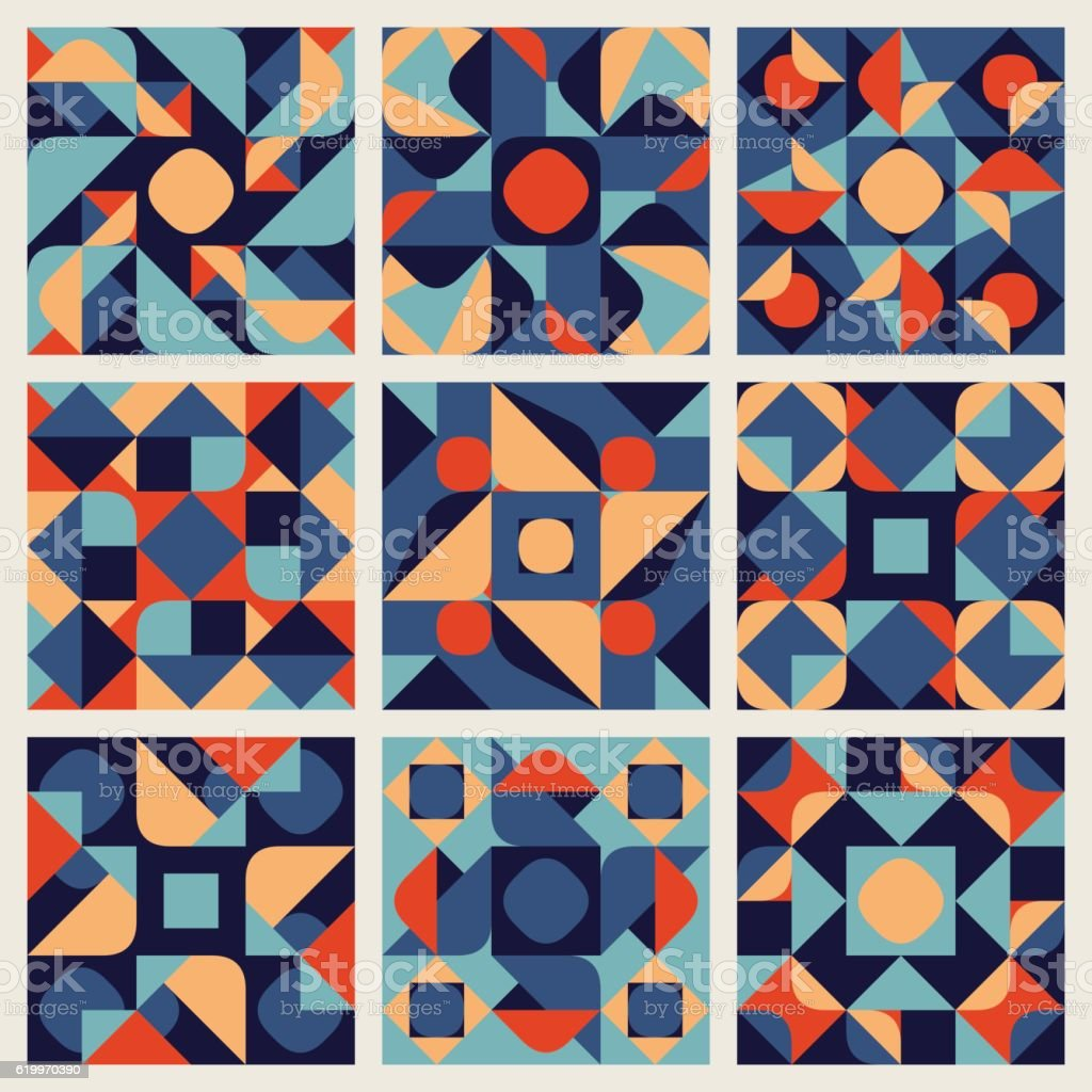 Set of Nine Vector Seamless Blue Orange White Color Retro vector art illustration