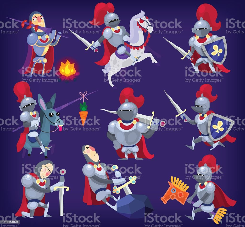 Set of noble knights vector art illustration