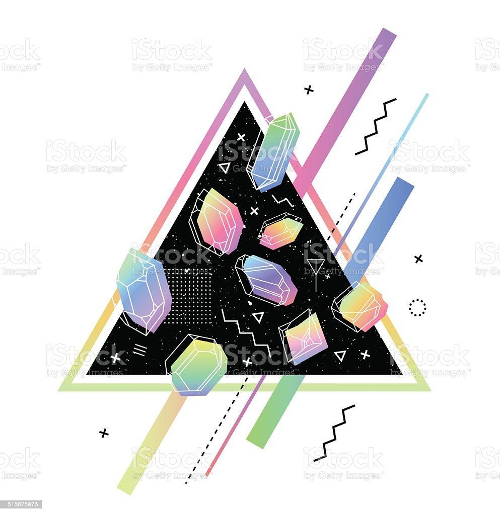 Set of non-linear crystals vector art illustration