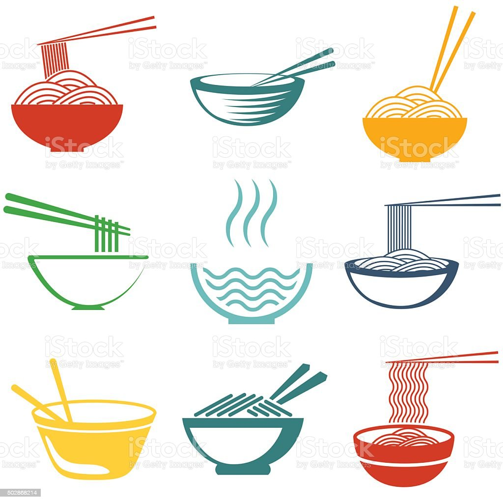Set of noodles vector art illustration