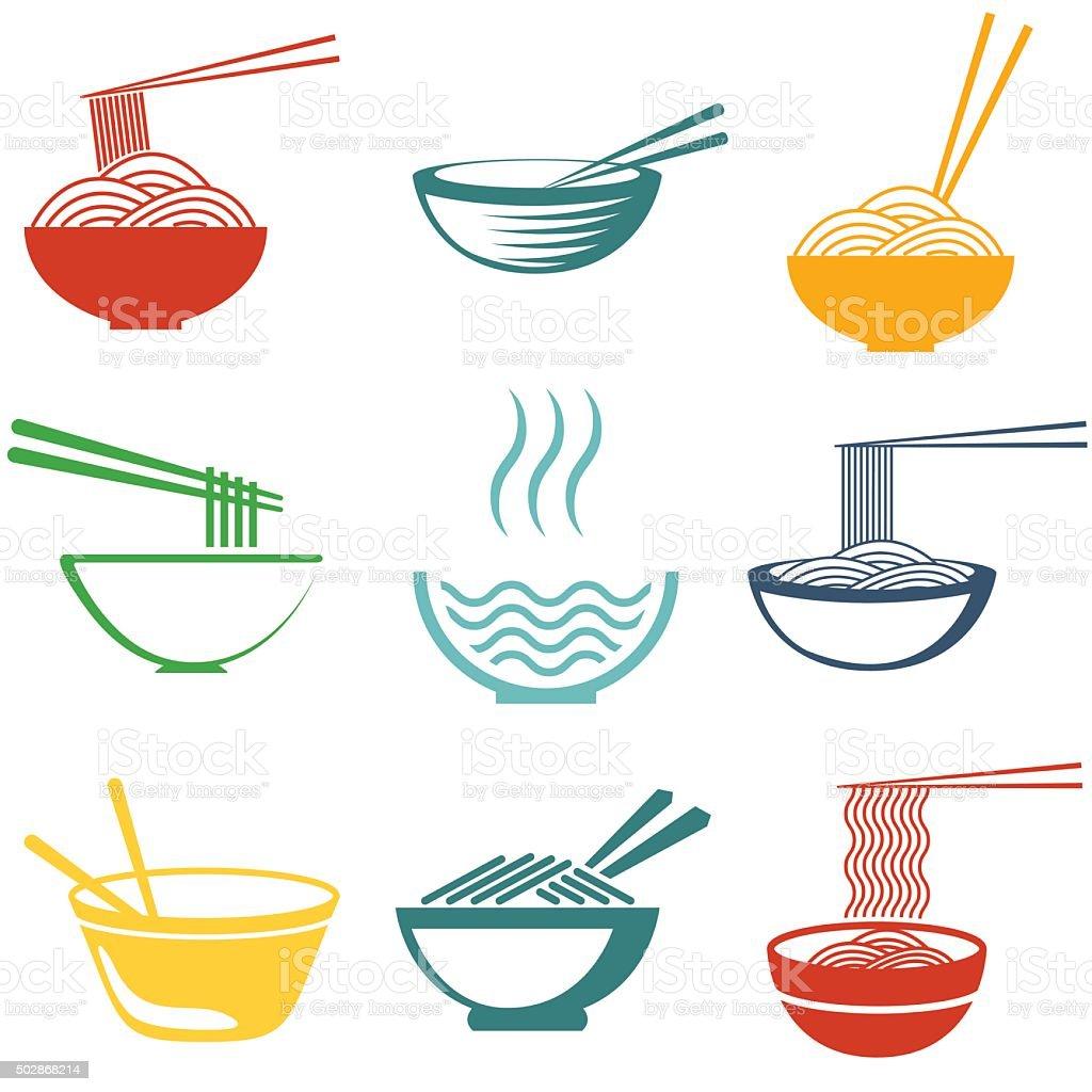 Set of noodles vector art illustration