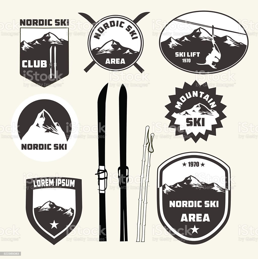 Set of nordic skiing design elements , badges and logo patches vector art illustration