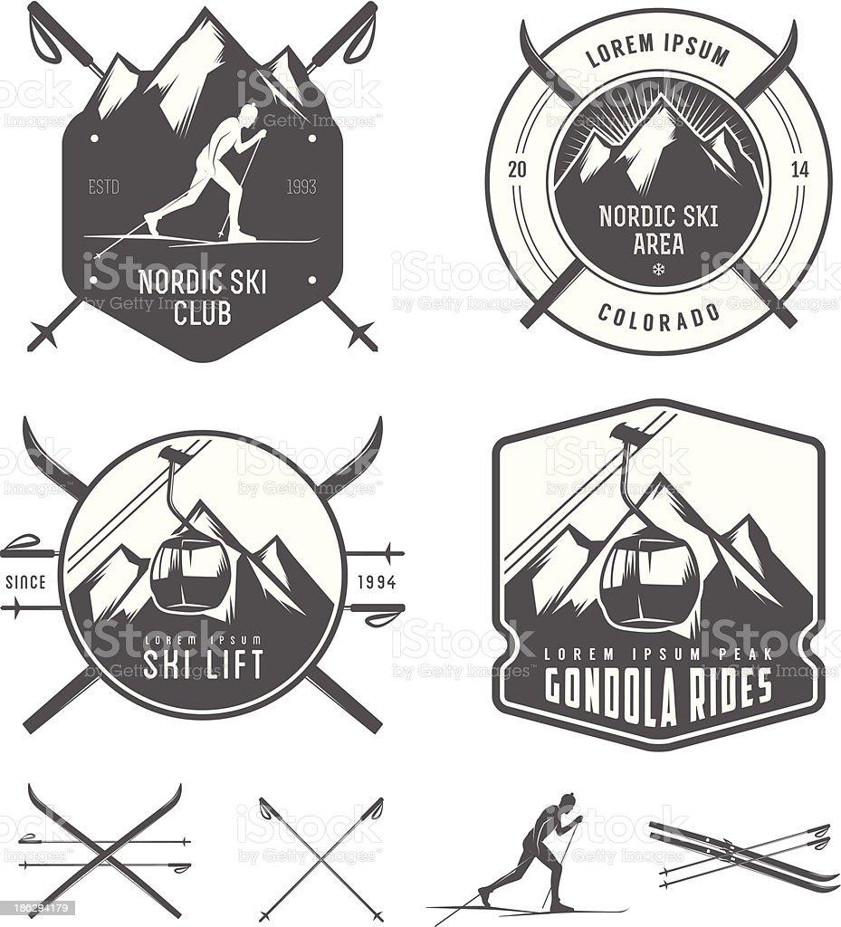 Set of nordic skiing design elements royalty-free stock vector art
