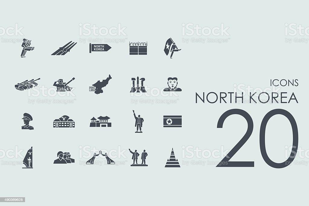 Set of North Korea icons vector art illustration