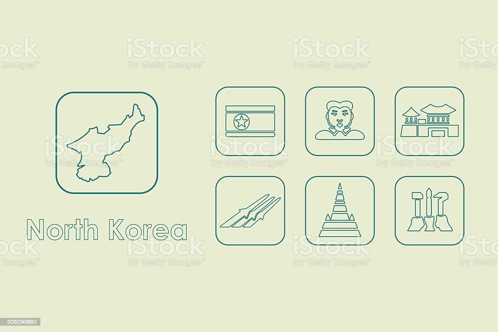 Set of North Korea simple icons vector art illustration