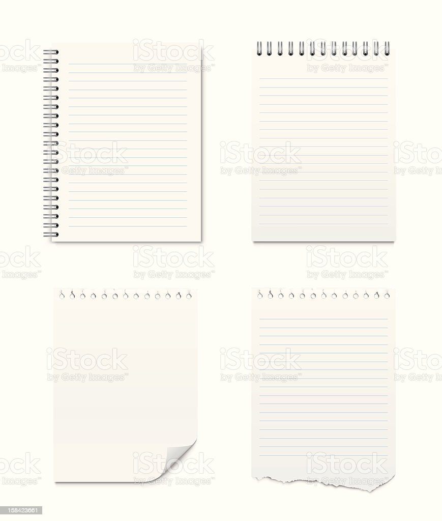 Set of Notepads and Blank Pages vector art illustration