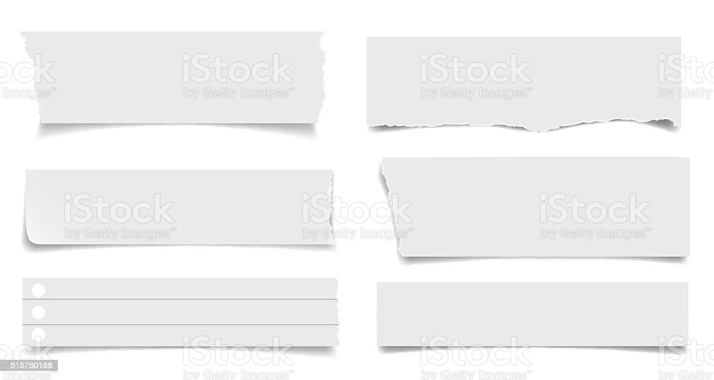 Set of notepaper sheets with shadow vector art illustration