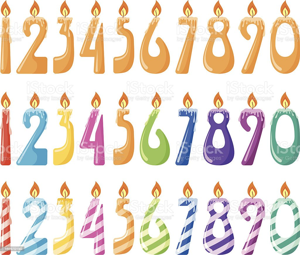 Set of number candles royalty-free stock vector art