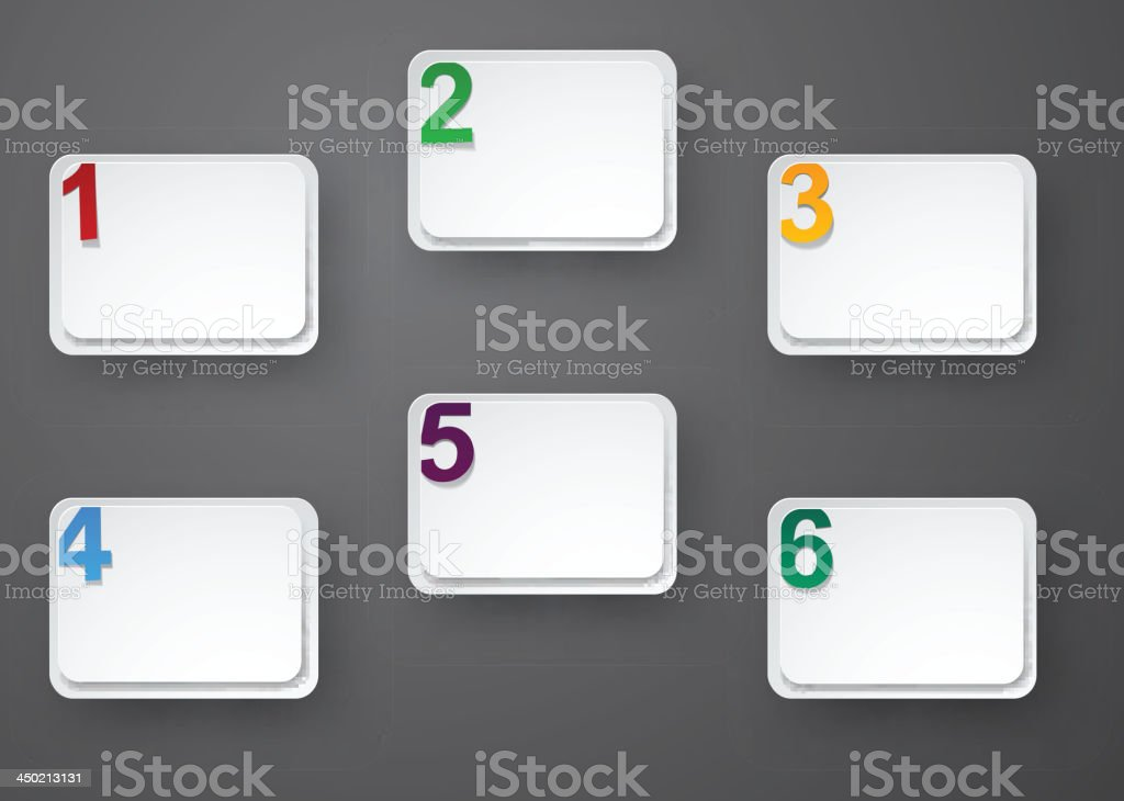 Set of numbered paper stickers. royalty-free stock vector art