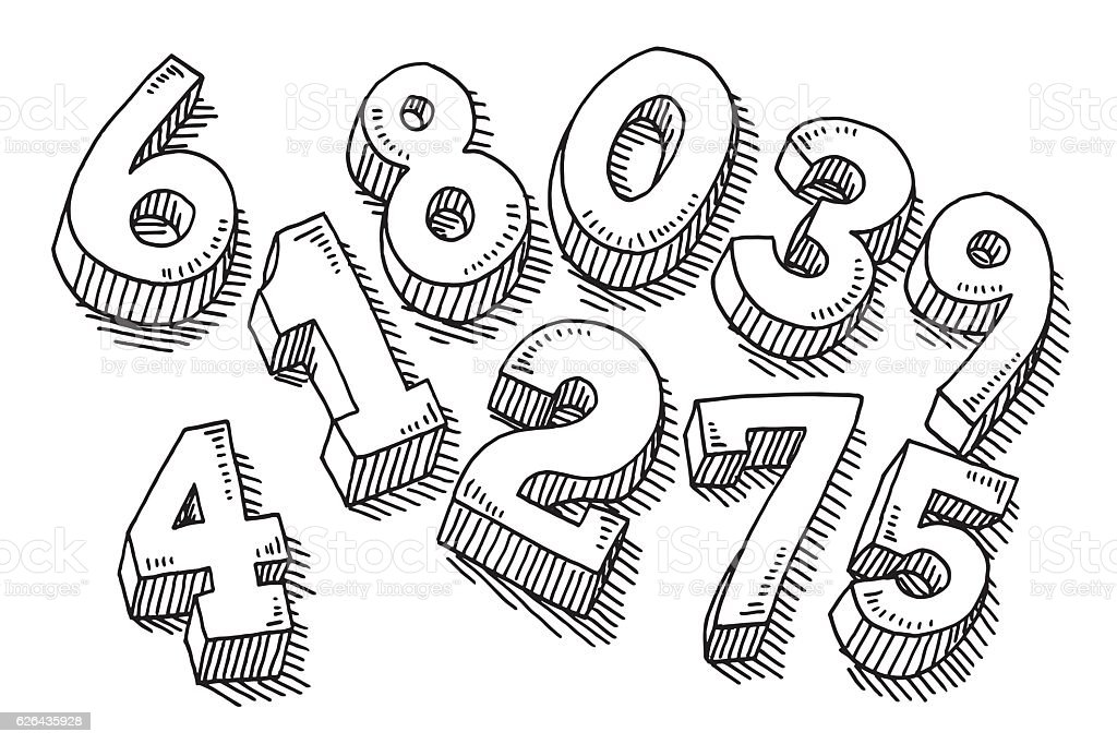 Set Of Numbers Drawing vector art illustration