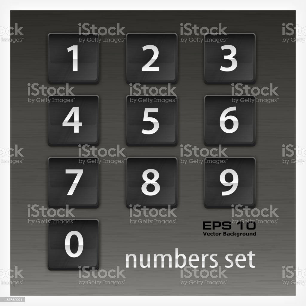 Set of numbers on black royalty-free stock vector art