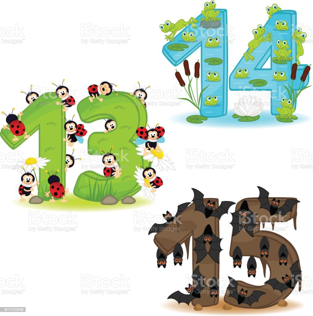 set of numbers with number of animals from 13 to 15 vector art illustration