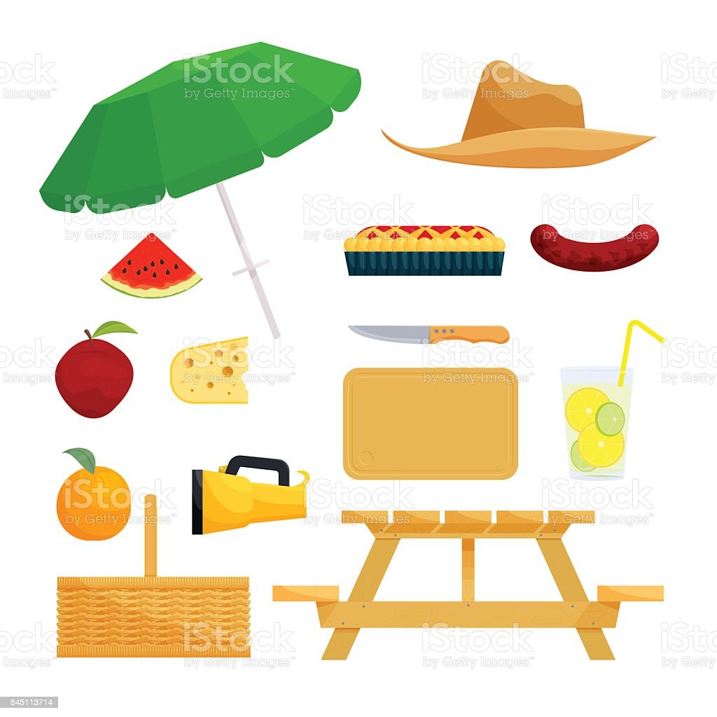 Set of objects for picnic vector art illustration