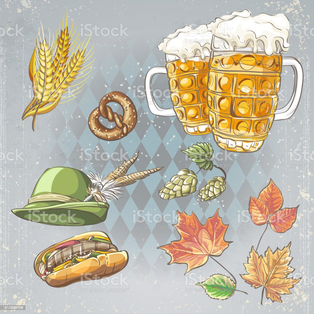 set of objects to the Oktoberfest vector art illustration
