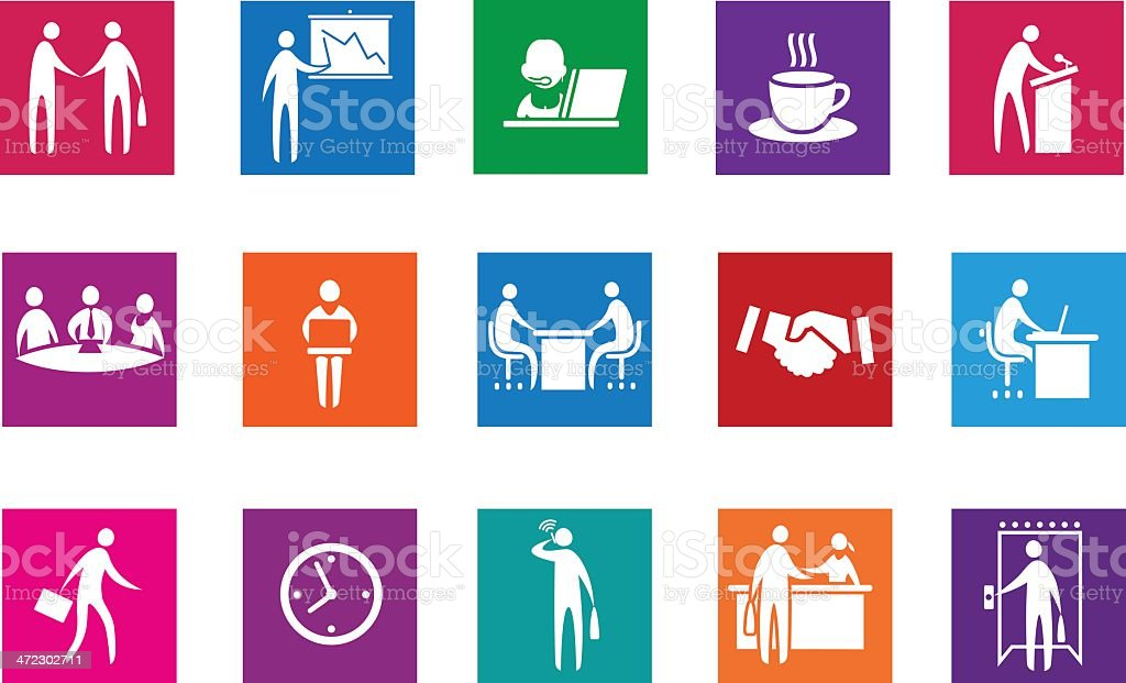 Set of office and business icons. vector art illustration