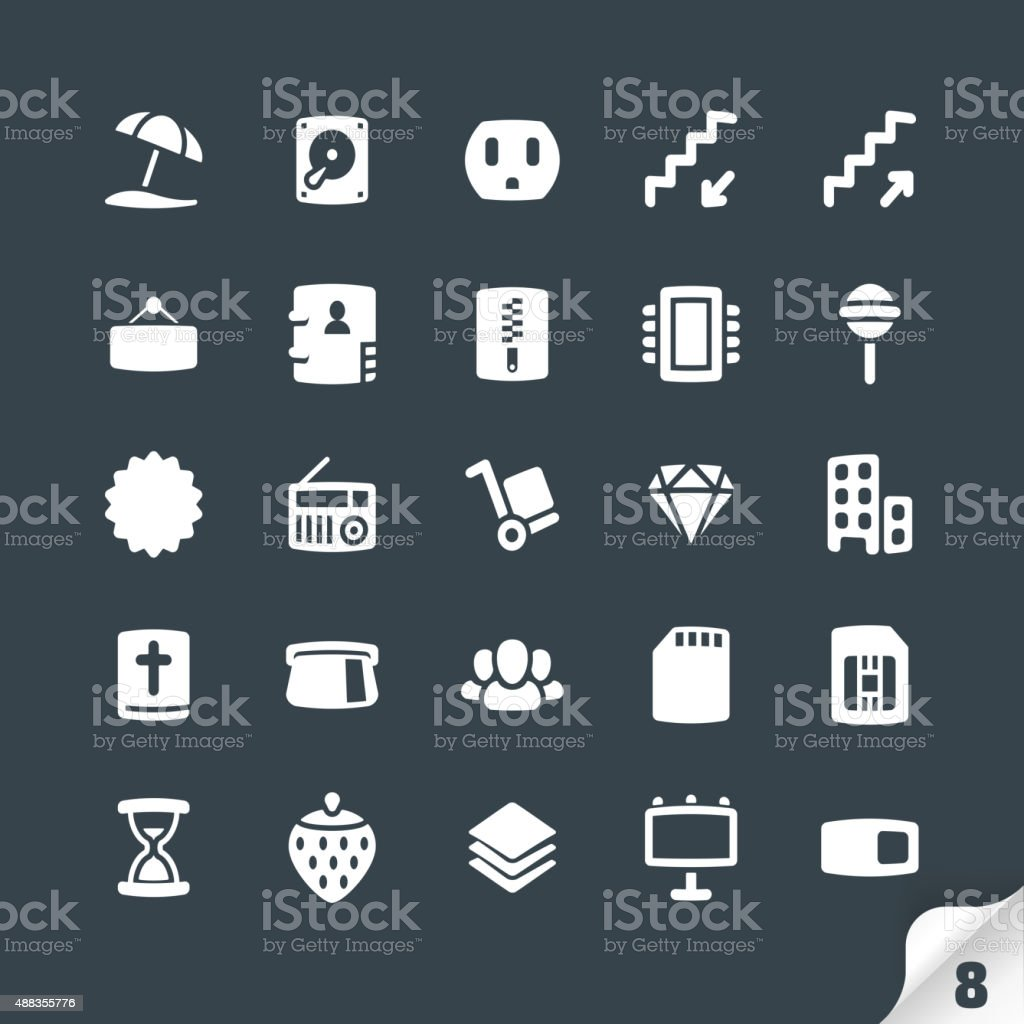 Set of Office and Media Icons vector art illustration