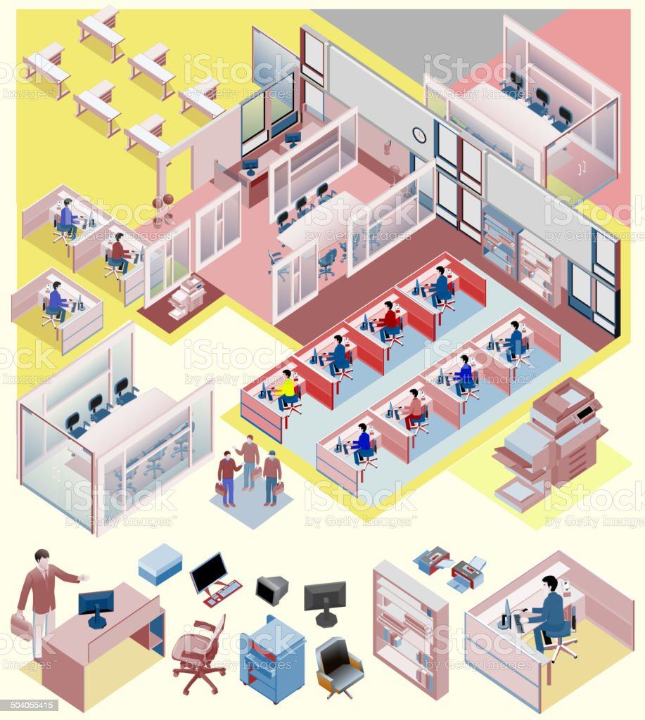 set of office isometric vector. workstation, people, manager, sales vector art illustration