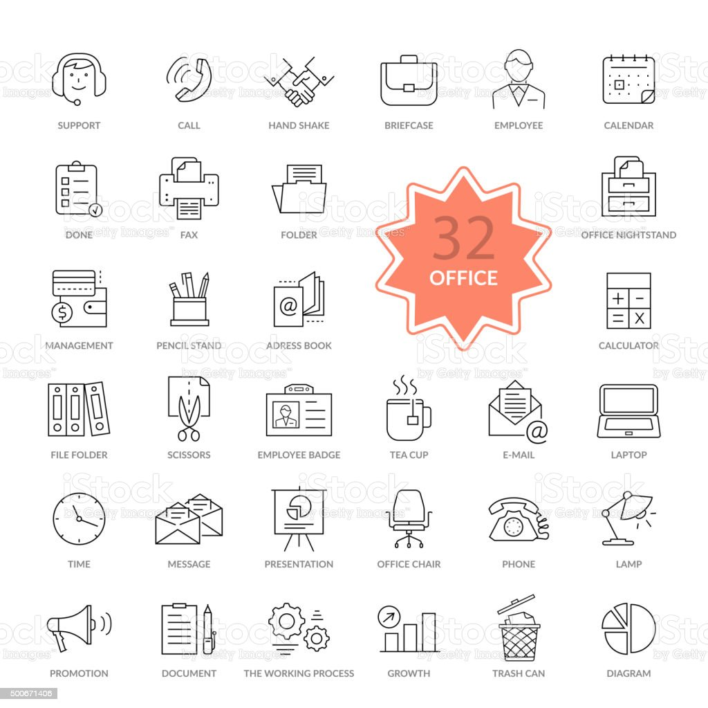Set of Office Items Icons vector art illustration