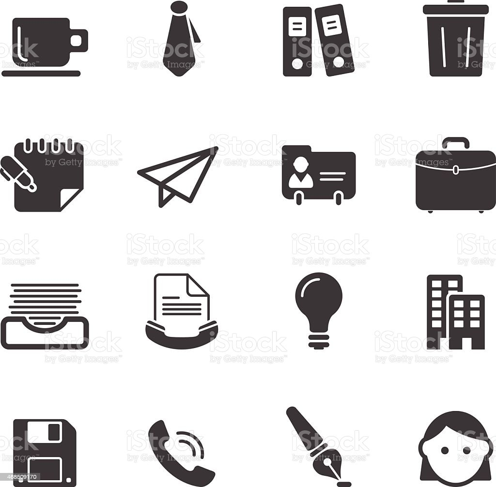 Set of office related item icons on white background vector art illustration