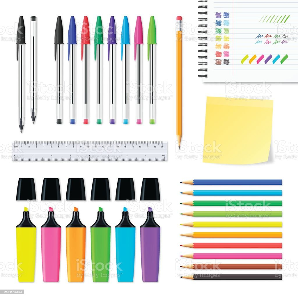 Set of office supplies isolated on white background vector art illustration