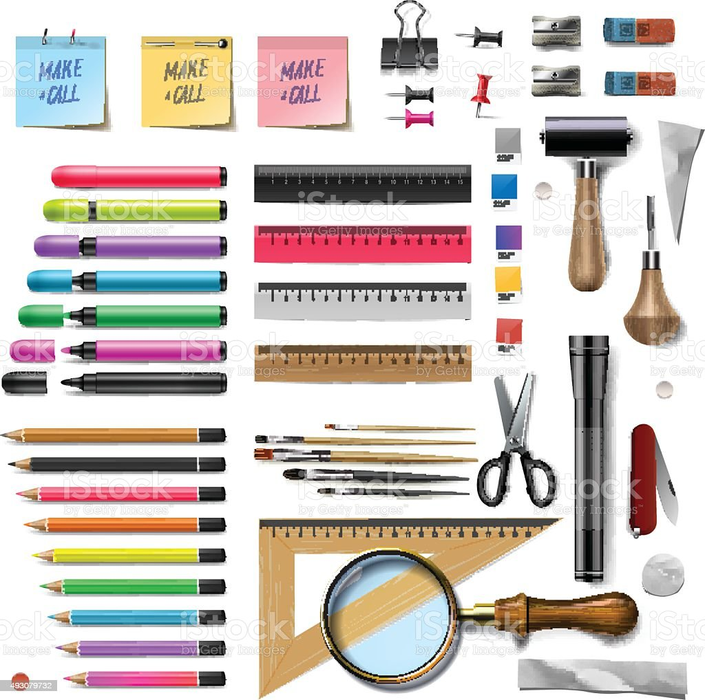 Set of office supplies on white background vector art illustration