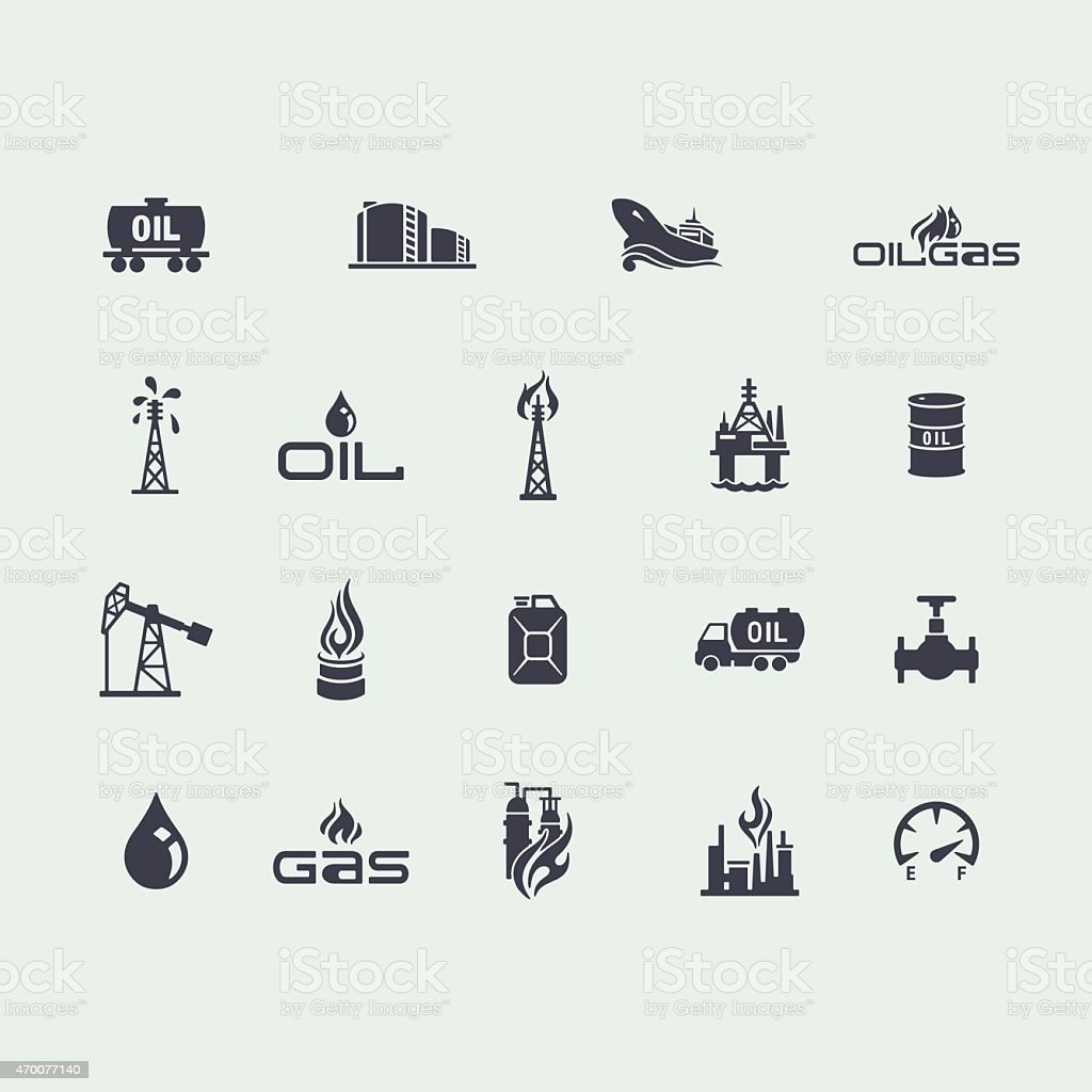 Set of oil and gas icons vector art illustration