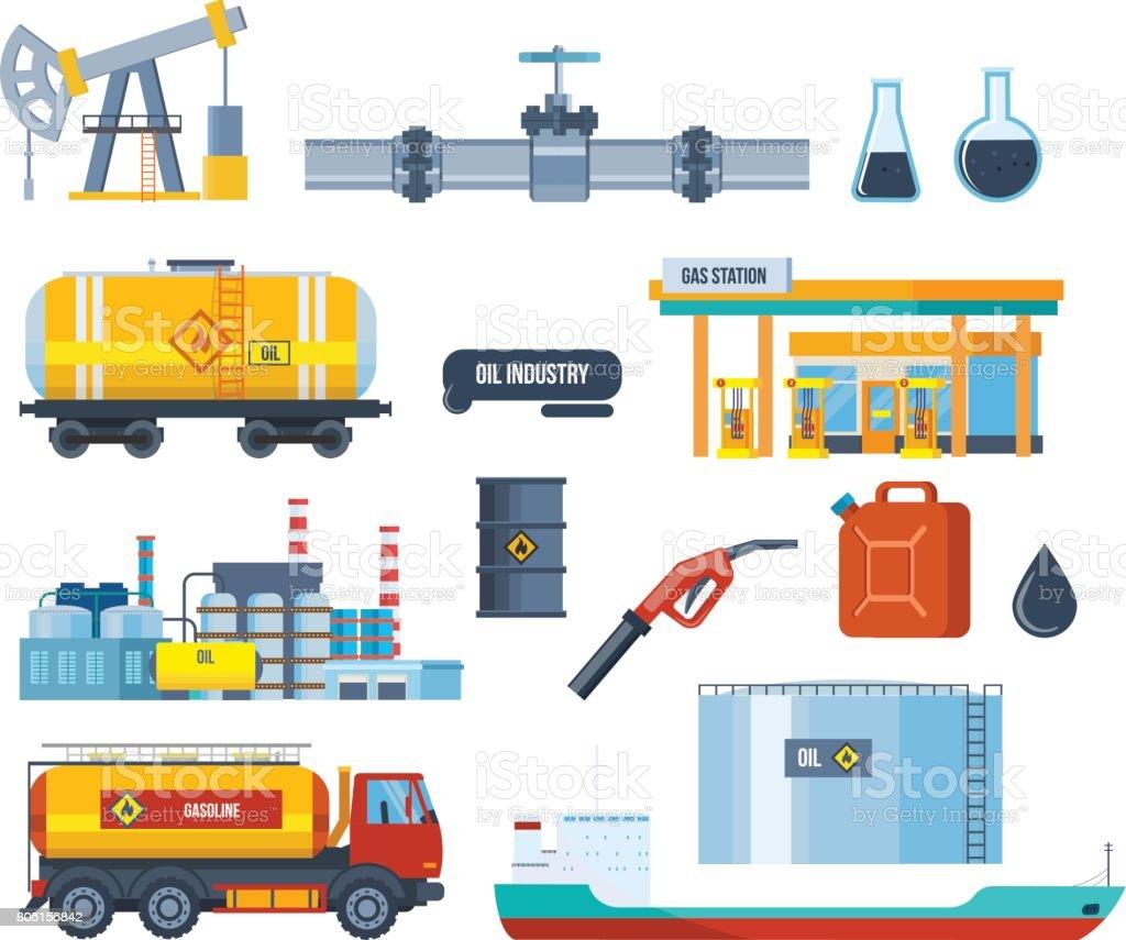 Set of oil industry: plant, equipment for production, transportation, storage vector art illustration