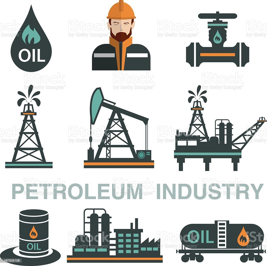 Set of  Oil or Petroleum Vector Flat Icons. vector art illustration